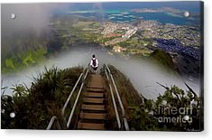 Stairway To Heaven Hawaii 3 Acrylic Print by Carl Gouveia