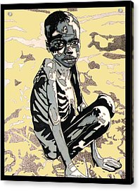 Starving African Boy Acrylic Print by Gabe Art Inc