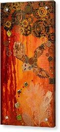 Steampunk Owl Red Horizon Acrylic Print