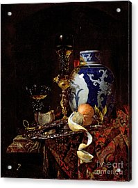 Still Life With A Chinese Porcelain Jar Acrylic Print by Willem Kalf