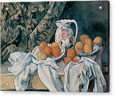 Still Life With A Curtain Acrylic Print by Paul Cezanne