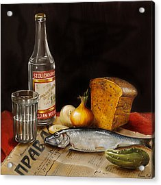 Still Life With Vodka And Herring Acrylic Print by Roxana Paul
