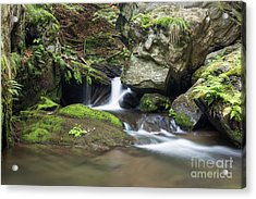 Acrylic Print featuring the photograph Stone Guardian Of The Waterfalls - Bizarre Boulder On The Bank by Michal Boubin