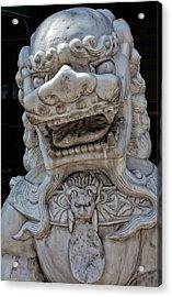 Stone Lion Chinatown Nyc Acrylic Print by Robert Ullmann