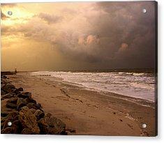 Storm On The Beach Acrylic Print by Paul Boroznoff