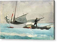 Stowing Sail Acrylic Print by Winslow Homer