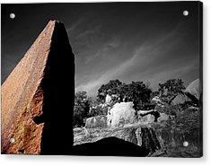 Straight Edge Boulder Enchanted Rock Texas Acrylic Print by Tom Fant