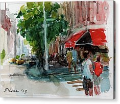 Streetscape With Red Awning - 82nd Street Market Acrylic Print by Peter Salwen