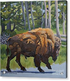 Acrylic Print featuring the painting Strutting Along, Yellowstone by Erin Fickert-Rowland