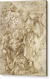 Studies For A Holy Family Acrylic Print by Michelangelo Buonarroti