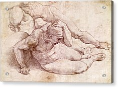 Study Of Three Male Figures  Acrylic Print