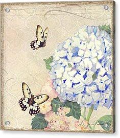 Summer Memories - Blue Hydrangea N Butterflies Acrylic Print by Audrey Jeanne Roberts