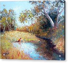 Sunday By The Creek Acrylic Print by Jan Matson