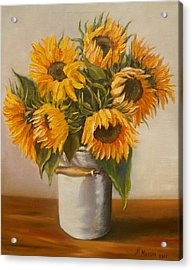 Acrylic Print featuring the painting Sunflowers by Nina Mitkova