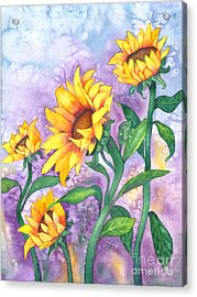 Acrylic Print featuring the painting Sunny Sunflowers by Kristen Fox
