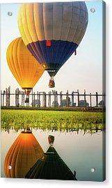 Sunrise At U Bein Bridge Acrylic Print by Anek Suwannaphoom