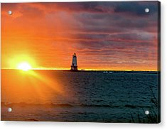 Sunset And Lighthouse Acrylic Print
