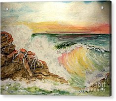 Acrylic Print featuring the painting Sunset At Sea by Carol Grimes
