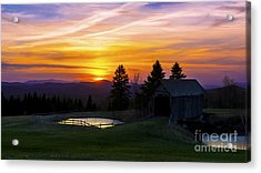 Sunset At The Foster Covered Bridge. Acrylic Print
