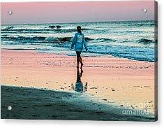 Sunset Stroll In The Surf Hilton Head Acrylic Print