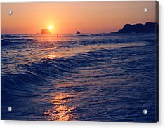 Sunset Swimmer At Zipolite  Acrylic Print by Lyle Crump