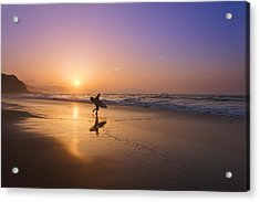 Surfer Entering Water At Sunset Acrylic Print