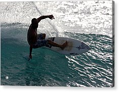 Surfer Surfing The Blue Waves At Dumps Maui Hawaii Acrylic Print by Pierre Leclerc Photography