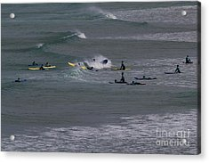 Acrylic Print featuring the photograph Photographs Of Cornwall Surfers At Fistral by Brian Roscorla