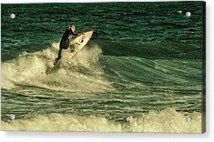 Surfing - Jersey Shore Acrylic Print by Angie Tirado