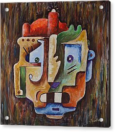 Acrylic Print featuring the painting Surrealism Head by Sotuland Art