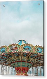 Swings With Stormy Sky Acrylic Print by Erin Cadigan