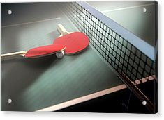 Table Tennis Table And Paddles Acrylic Print
