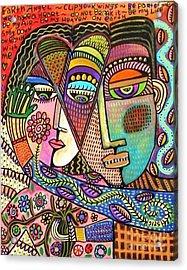 Talavera Garden Angel Lovers Acrylic Print