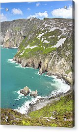 Tall Sea Cliffs Of Slieve League Donegal Ireland Acrylic Print by Pierre Leclerc Photography