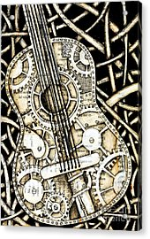 Tangle Guitar Acrylic Print by Delein Padilla