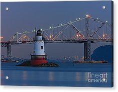 Tarrytown Lighthouse And Tappan Zee Bridge At Twilight Acrylic Print by Clarence Holmes