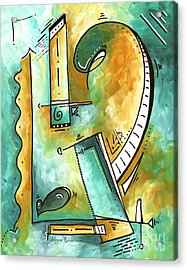 Teal Dreams Fun Funky Original Pop Art Style Abstract Painting By Megan Duncanson Acrylic Print