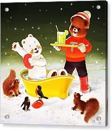 Teddy Bear Christmas Card Acrylic Print by William Francis Phillipps