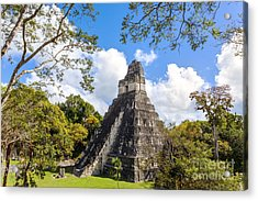 Temple I Of The Jaguar - Mayan Ruins Of Tikal Guatemala Acrylic Print