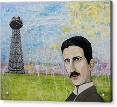 Acrylic Print featuring the painting Tesla's Tower. by Ken Zabel