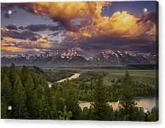 Teton Cloudburst Acrylic Print by Andrew Soundarajan