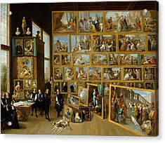 The Art Collection Of Archduke Leopold Wilhelm In Brussels Acrylic Print by David Teniers the Younger