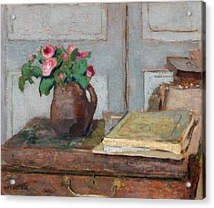 The Artist's Paint Box And Moss Roses Acrylic Print