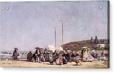 The Beach At Trouville Acrylic Print by Eugene Louis Boudin