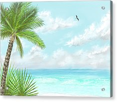 Acrylic Print featuring the digital art The Beach by Darren Cannell