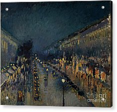 The Boulevard Montmartre At Night Acrylic Print by Camille Pissarro
