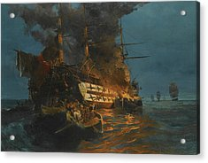 The Burning Of A Turkish Frigate Acrylic Print by Konstantinos Volanakis