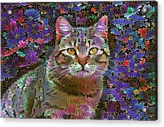 The Cat Who Loved Flowers 2 Acrylic Print