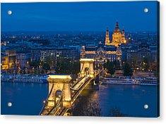 The Chain Bridge In Budapest Acrylic Print by Kobby Dagan