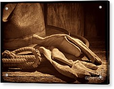The Cowboy Gloves Acrylic Print by American West Legend By Olivier Le Queinec